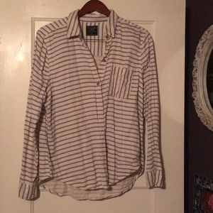 Abercrombie stripped bile and white button down XL